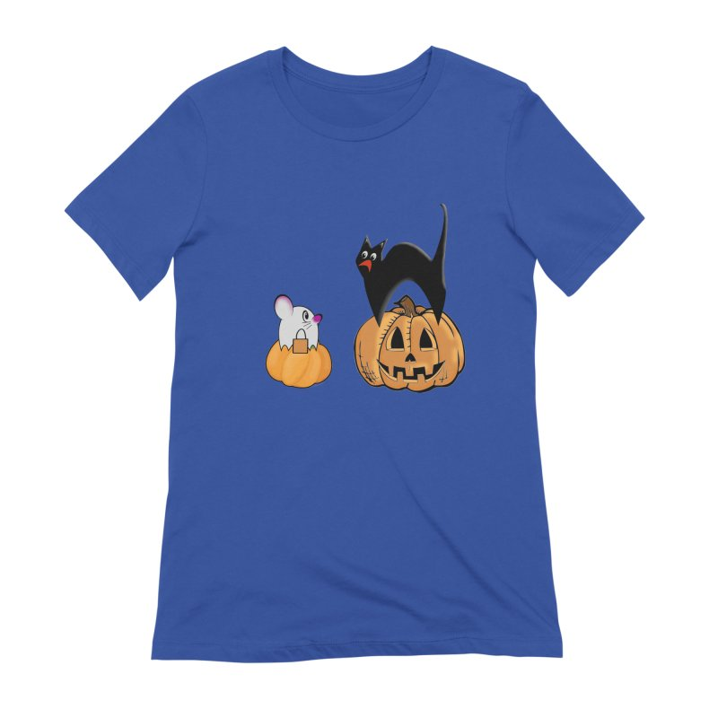 Scared Halloween cat and mouse on pumpkins Women's Extra Soft T-Shirt by Sporkshirts's tshirt gamer movie and design shop.