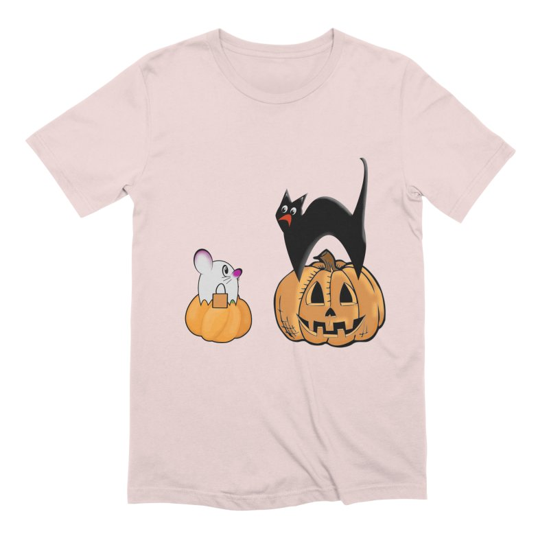 Scared Halloween cat and mouse on pumpkins Men's Extra Soft T-Shirt by Make a statement, laugh, enjoy.