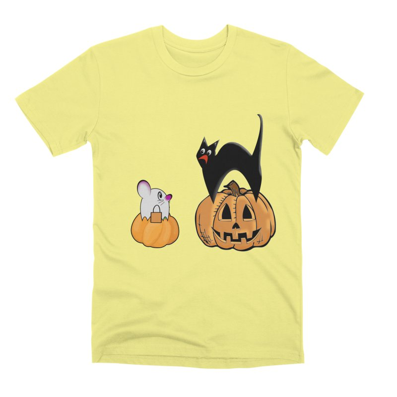 Scared Halloween cat and mouse on pumpkins Men's Premium T-Shirt by Sporkshirts's tshirt gamer movie and design shop.