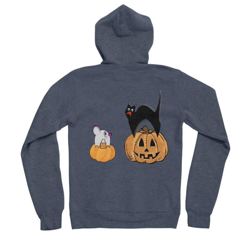 Scared Halloween cat and mouse on pumpkins Men's Sponge Fleece Zip-Up Hoody by Sporkshirts's tshirt gamer movie and design shop.