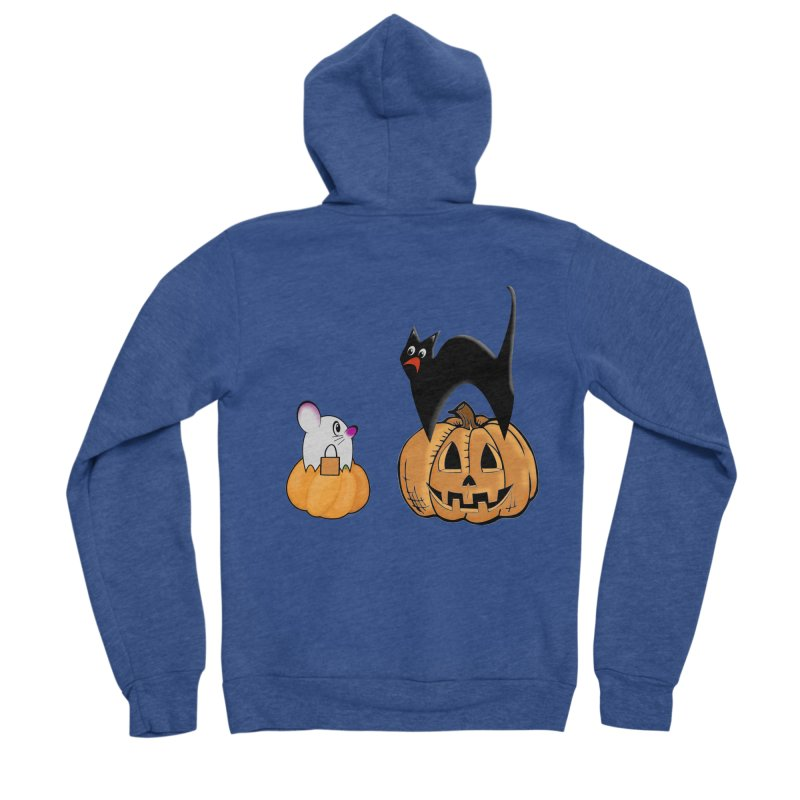 Scared Halloween cat and mouse on pumpkins Women's Sponge Fleece Zip-Up Hoody by Sporkshirts's tshirt gamer movie and design shop.
