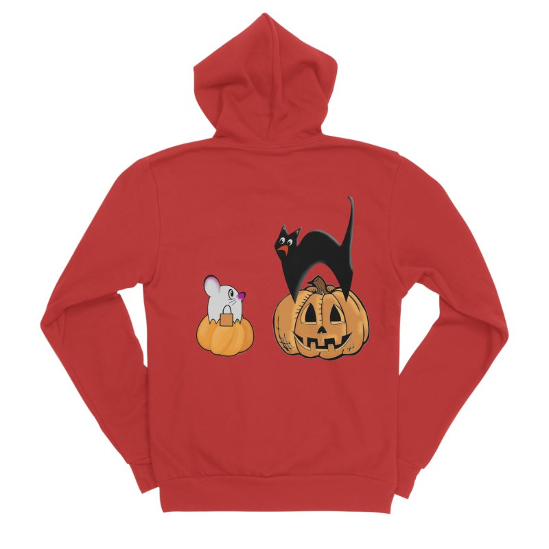 Scared Halloween cat and mouse on pumpkins Women's Zip-Up Hoody by Make a statement, laugh, enjoy.