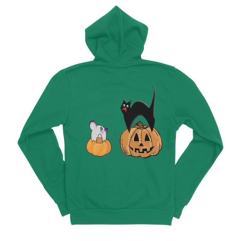 Scared Halloween cat and mouse on pumpkins Men's Sponge Fleece Zip-Up Hoody by Make a statement, laugh, enjoy.