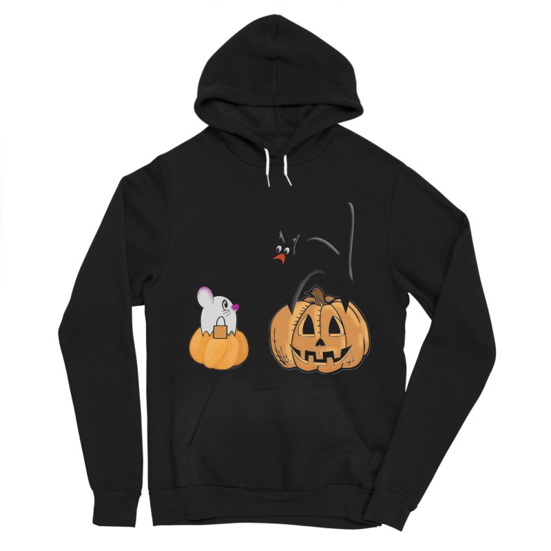 Scared Halloween cat and mouse on pumpkins Women's Sponge Fleece Pullover Hoody by Make a statement, laugh, enjoy.