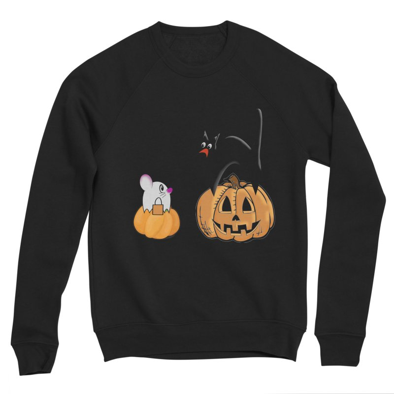 Scared Halloween cat and mouse on pumpkins Women's Sponge Fleece Sweatshirt by Make a statement, laugh, enjoy.