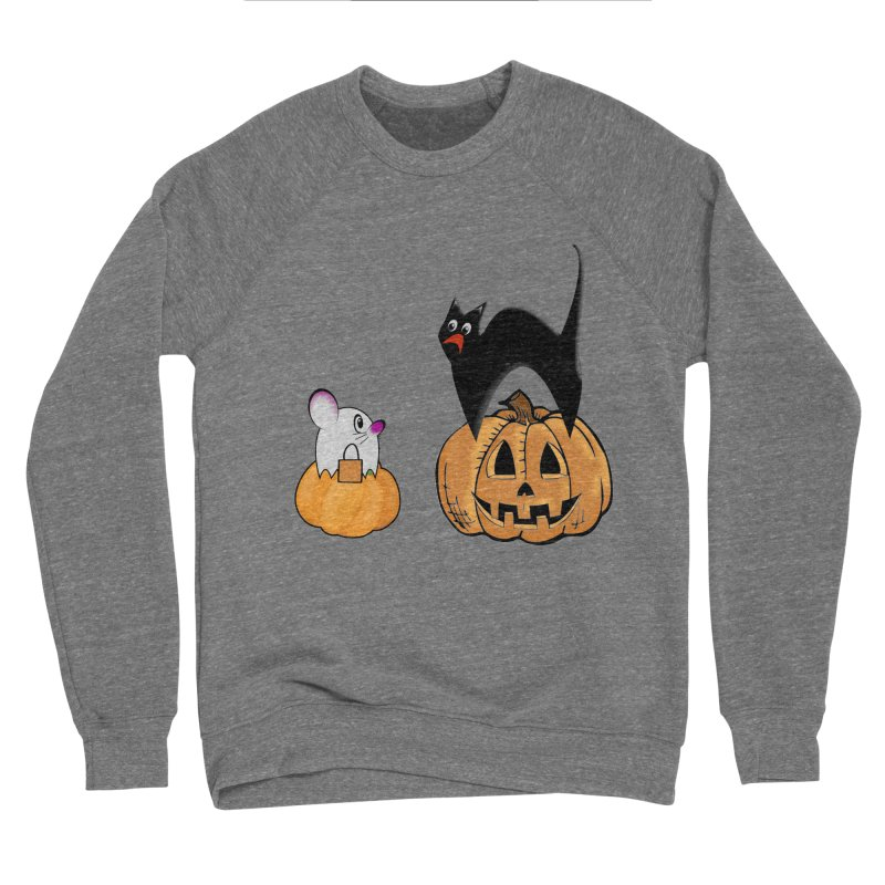Scared Halloween cat and mouse on pumpkins Women's Sponge Fleece Sweatshirt by Sporkshirts's tshirt gamer movie and design shop.