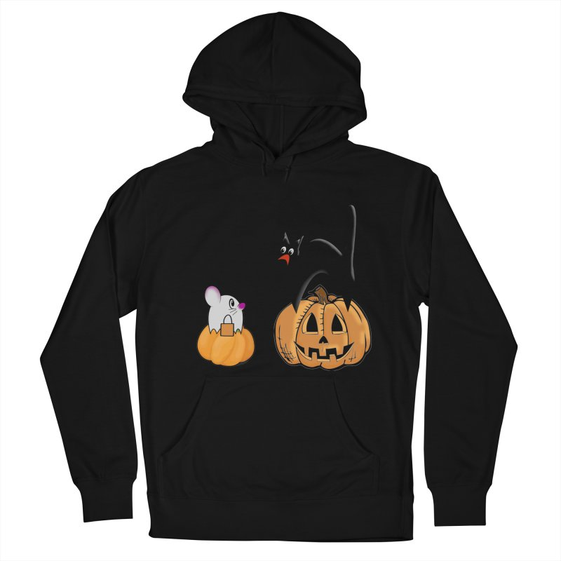 Scared Halloween cat and mouse on pumpkins Women's French Terry Pullover Hoody by Sporkshirts's tshirt gamer movie and design shop.