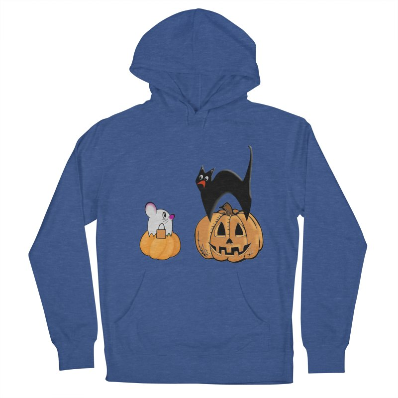 Scared Halloween cat and mouse on pumpkins Men's French Terry Pullover Hoody by Make a statement, laugh, enjoy.