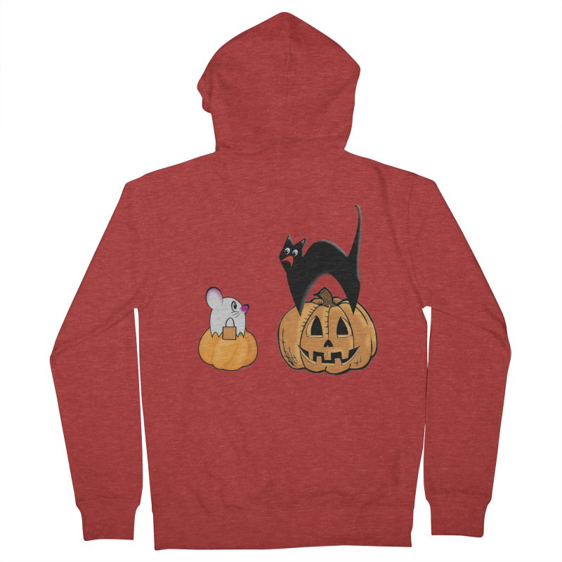 Scared Halloween cat and mouse on pumpkins Women's French Terry Zip-Up Hoody by Make a statement, laugh, enjoy.