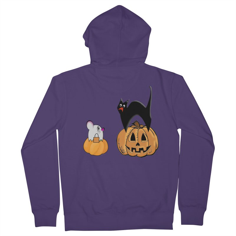 Scared Halloween cat and mouse on pumpkins Women's French Terry Zip-Up Hoody by Sporkshirts's tshirt gamer movie and design shop.