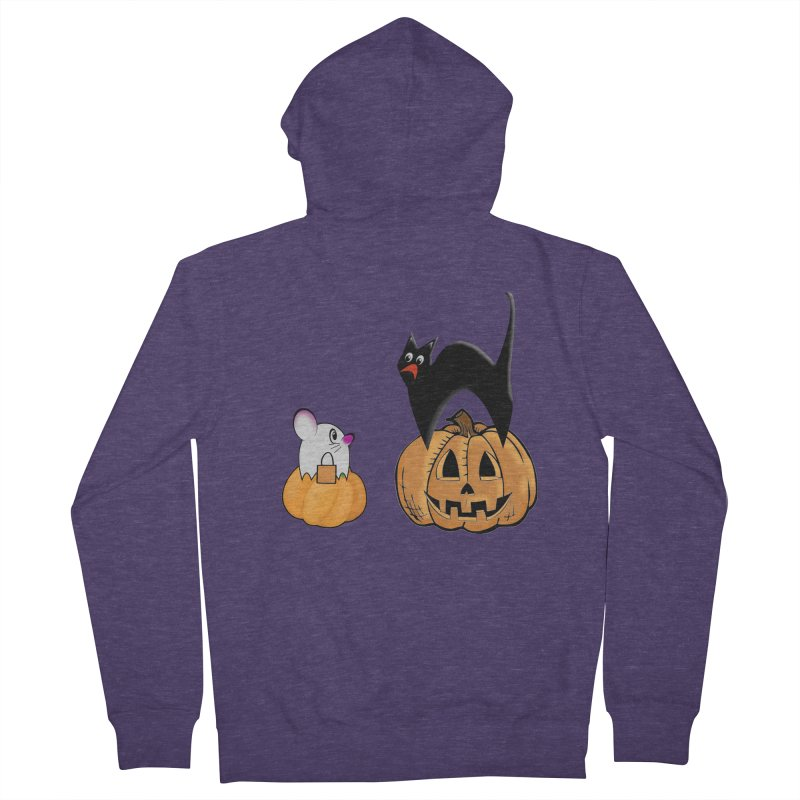 Scared Halloween cat and mouse on pumpkins Men's French Terry Zip-Up Hoody by Make a statement, laugh, enjoy.