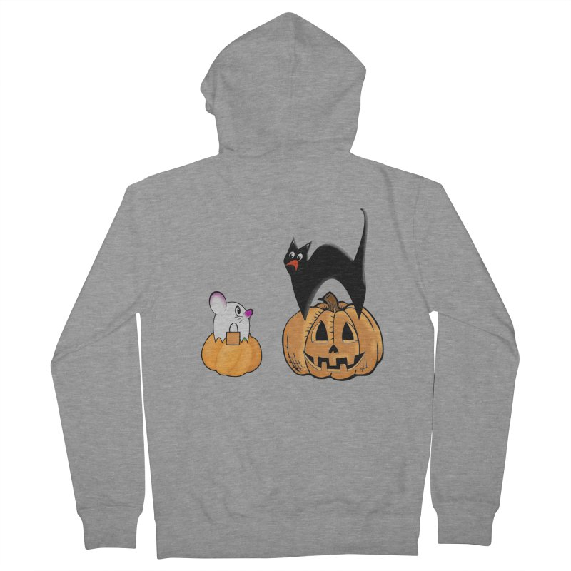 Scared Halloween cat and mouse on pumpkins Men's French Terry Zip-Up Hoody by Sporkshirts's tshirt gamer movie and design shop.