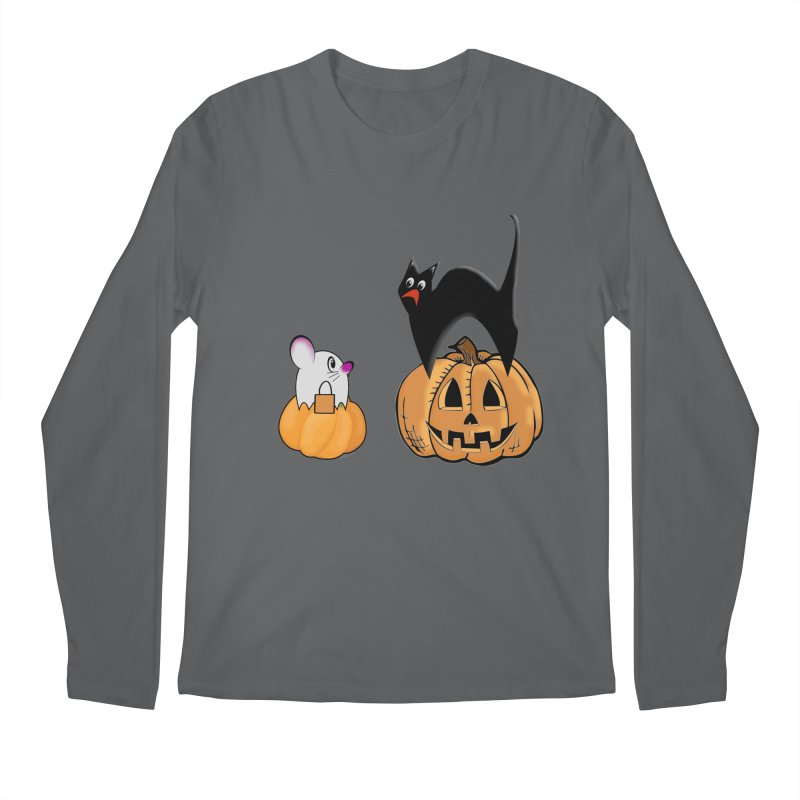 Scared Halloween cat and mouse on pumpkins Men's Longsleeve T-Shirt by Make a statement, laugh, enjoy.