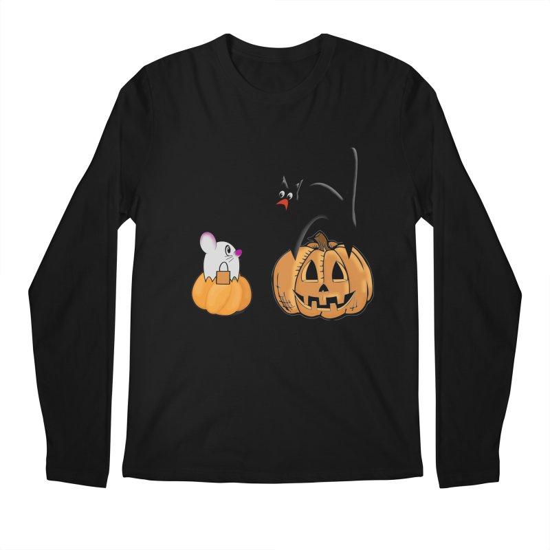 Scared Halloween cat and mouse on pumpkins Men's Regular Longsleeve T-Shirt by Make a statement, laugh, enjoy.