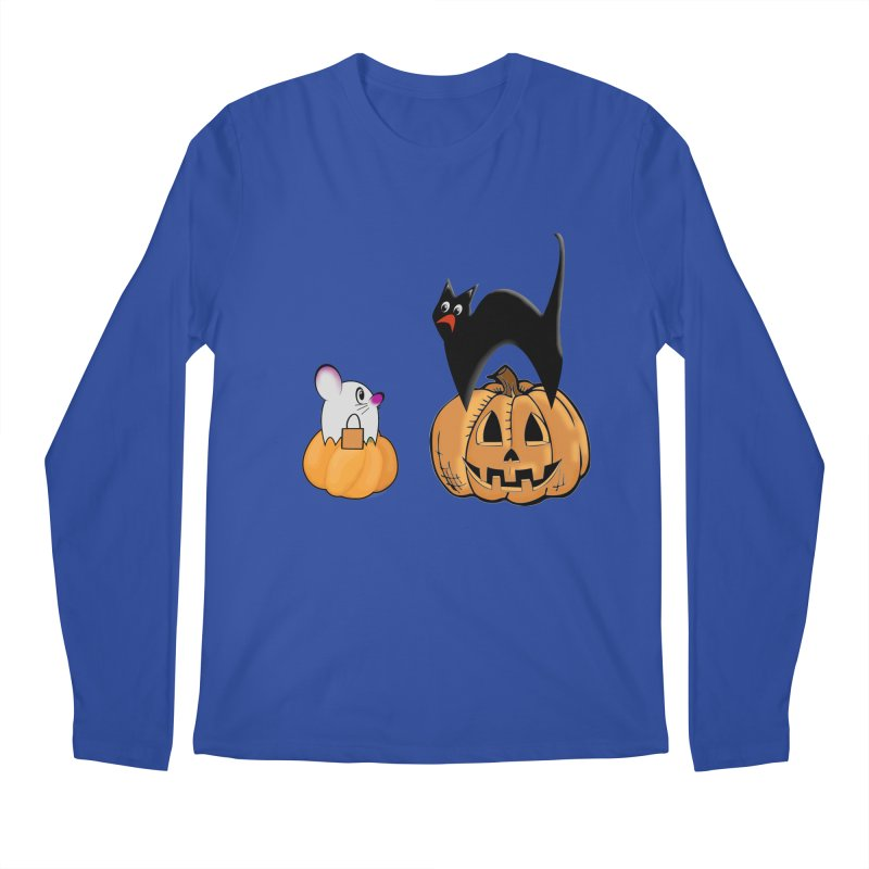 Scared Halloween cat and mouse on pumpkins Men's Regular Longsleeve T-Shirt by Sporkshirts's tshirt gamer movie and design shop.