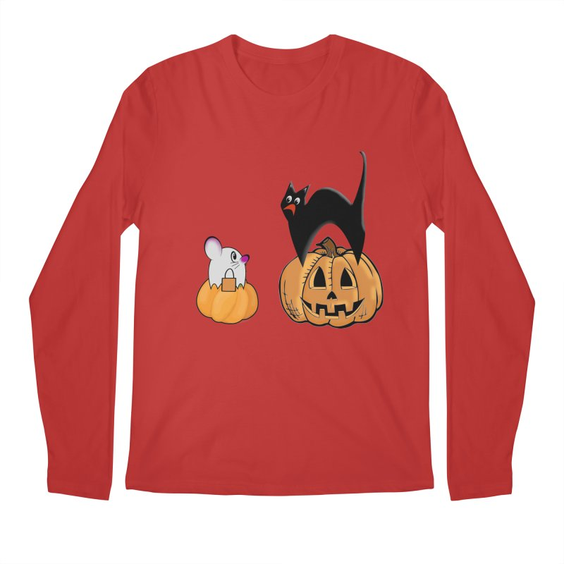 Scared Halloween cat and mouse on pumpkins Men's Regular Longsleeve T-Shirt by Make a statement, laugh, enjoy.