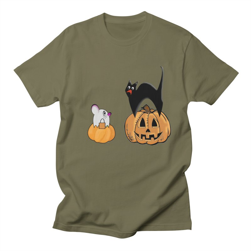 Scared Halloween cat and mouse on pumpkins Women's Regular Unisex T-Shirt by Sporkshirts's tshirt gamer movie and design shop.