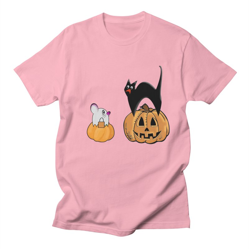 Scared Halloween cat and mouse on pumpkins Men's Regular T-Shirt by Make a statement, laugh, enjoy.