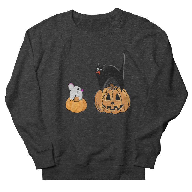 Scared Halloween cat and mouse on pumpkins Women's French Terry Sweatshirt by Sporkshirts's tshirt gamer movie and design shop.