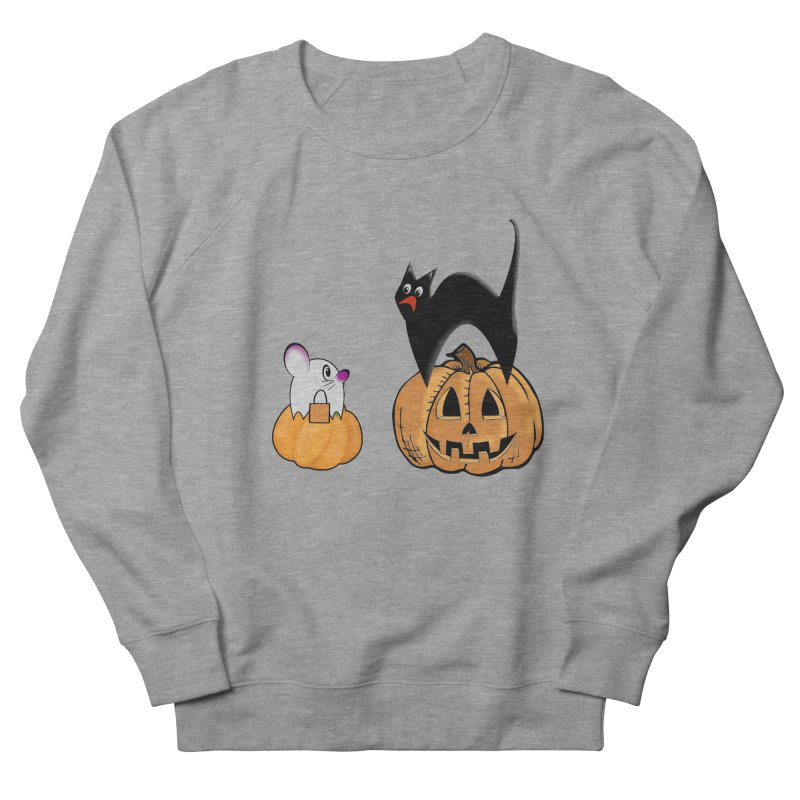 Scared Halloween cat and mouse on pumpkins Men's French Terry Sweatshirt by Sporkshirts's tshirt gamer movie and design shop.