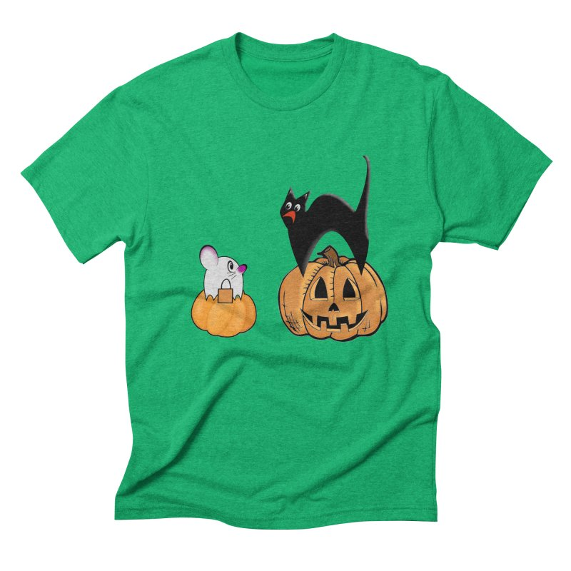 Scared Halloween cat and mouse on pumpkins Men's Triblend T-Shirt by Sporkshirts's tshirt gamer movie and design shop.
