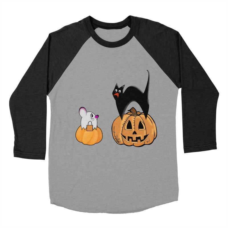 Scared Halloween cat and mouse on pumpkins Men's Baseball Triblend Longsleeve T-Shirt by Sporkshirts's tshirt gamer movie and design shop.