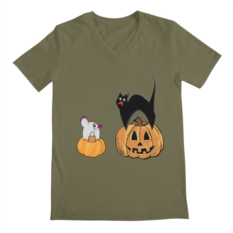 Scared Halloween cat and mouse on pumpkins Men's Regular V-Neck by Sporkshirts's tshirt gamer movie and design shop.