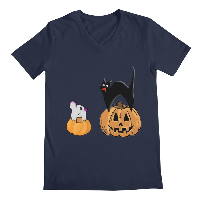 Scared Halloween cat and mouse on pumpkins Men's Regular V-Neck by Make a statement, laugh, enjoy.