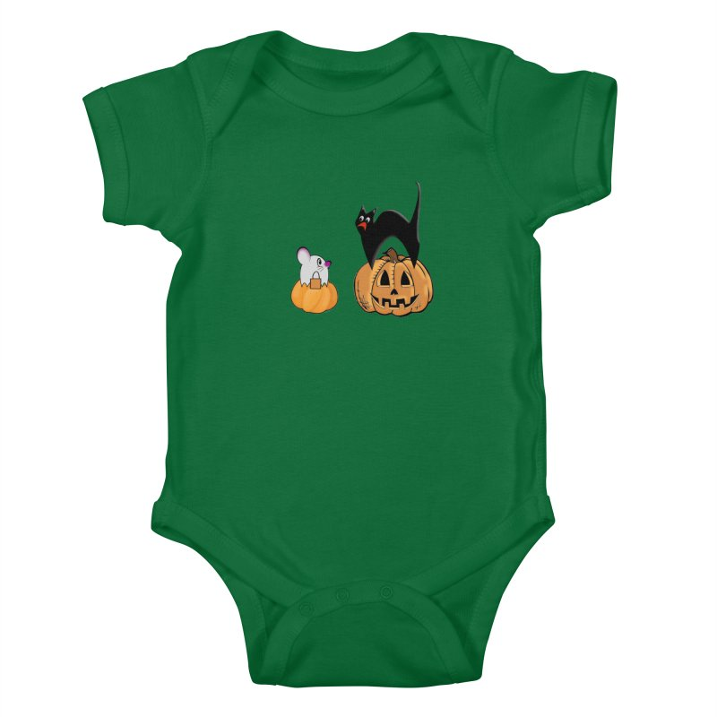 Scared Halloween cat and mouse on pumpkins Kids Baby Bodysuit by Make a statement, laugh, enjoy.