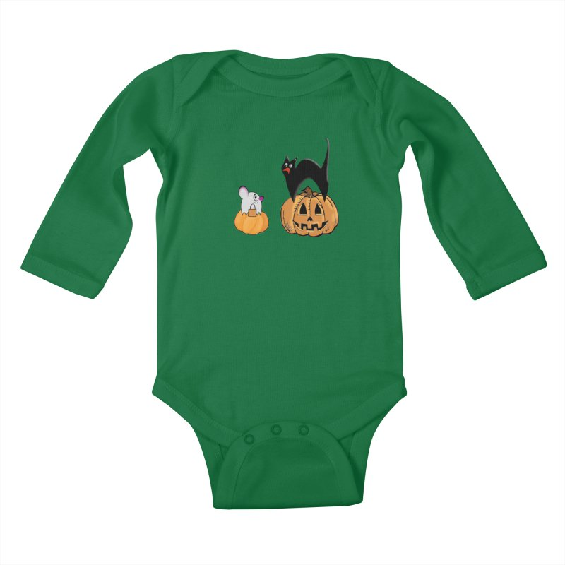 Scared Halloween cat and mouse on pumpkins Kids Baby Longsleeve Bodysuit by Sporkshirts's tshirt gamer movie and design shop.