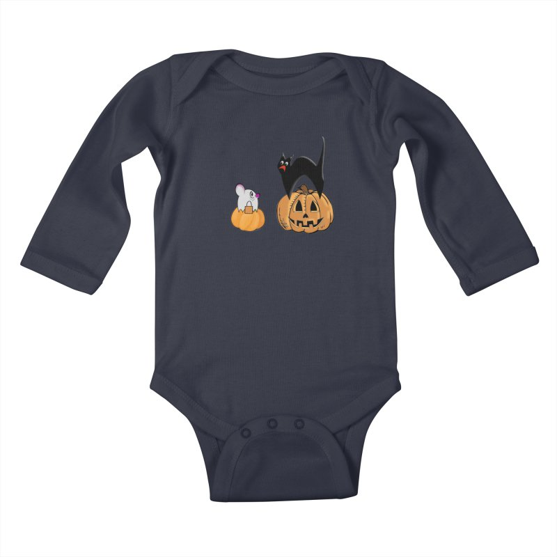 Scared Halloween cat and mouse on pumpkins Kids Baby Longsleeve Bodysuit by Make a statement, laugh, enjoy.