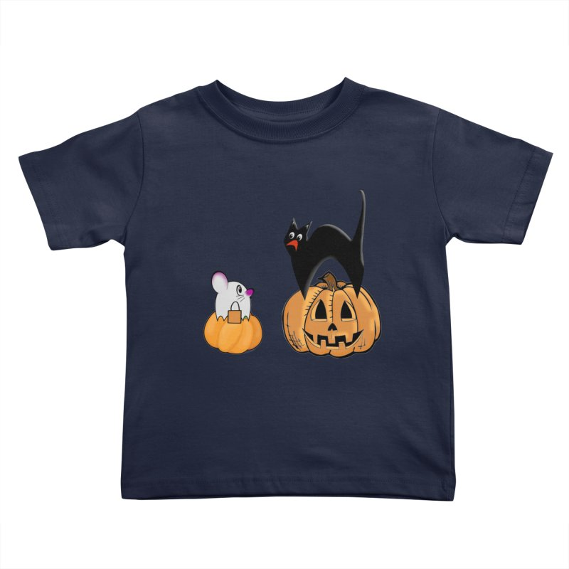 Scared Halloween cat and mouse on pumpkins Kids Toddler T-Shirt by Make a statement, laugh, enjoy.