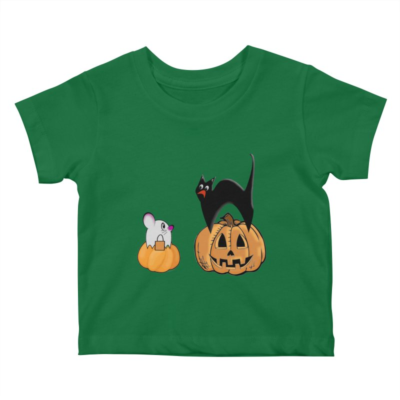 Scared Halloween cat and mouse on pumpkins Kids Baby T-Shirt by Make a statement, laugh, enjoy.