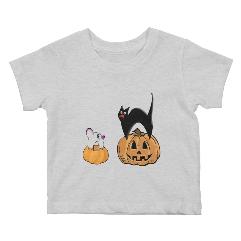 Scared Halloween cat and mouse on pumpkins Kids Baby T-Shirt by Sporkshirts's tshirt gamer movie and design shop.