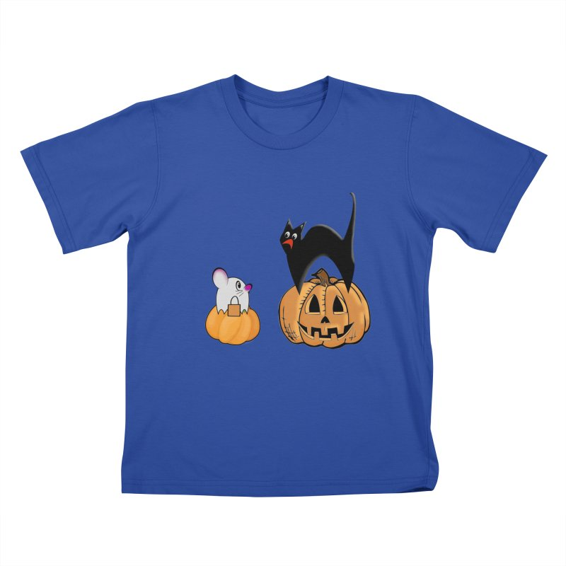 Scared Halloween cat and mouse on pumpkins Kids T-Shirt by Sporkshirts's tshirt gamer movie and design shop.
