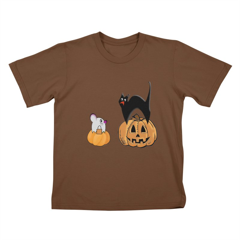 Scared Halloween cat and mouse on pumpkins Kids T-Shirt by Make a statement, laugh, enjoy.