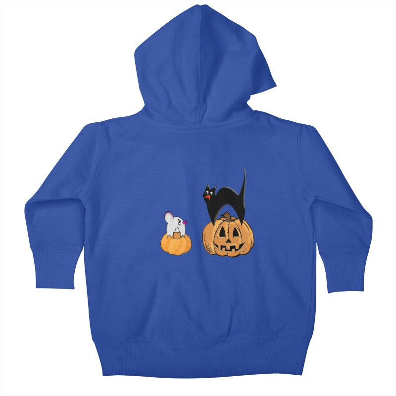 Scared Halloween cat and mouse on pumpkins Kids Baby Zip-Up Hoody by Sporkshirts's tshirt gamer movie and design shop.