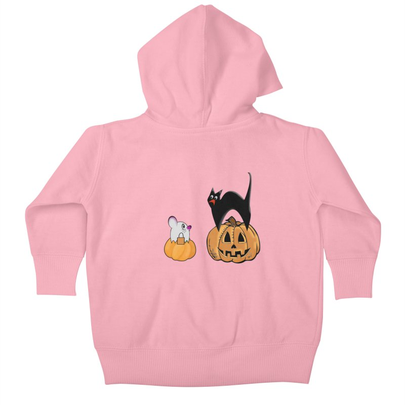Scared Halloween cat and mouse on pumpkins Kids Baby Zip-Up Hoody by Make a statement, laugh, enjoy.