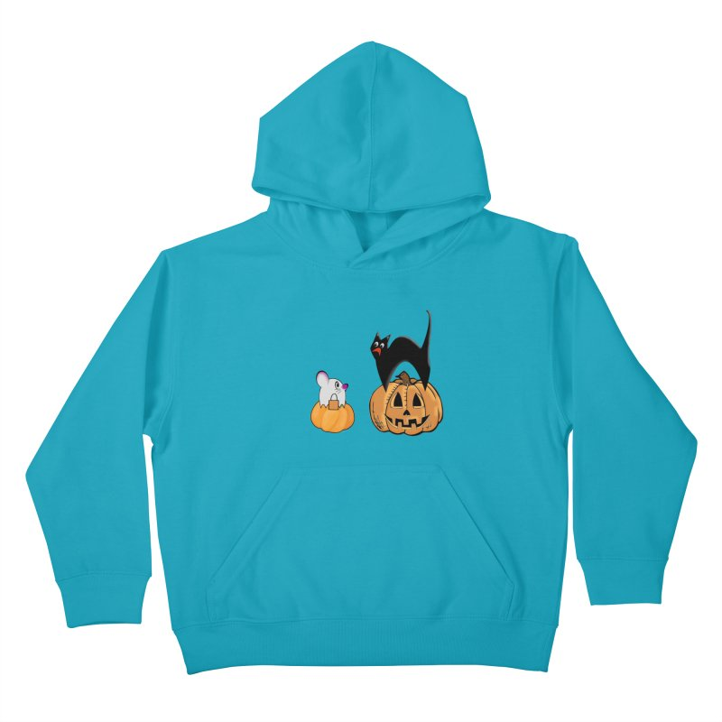 Scared Halloween cat and mouse on pumpkins Kids Pullover Hoody by Make a statement, laugh, enjoy.