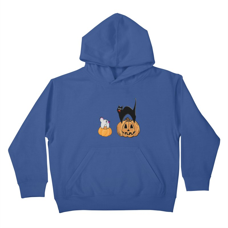 Scared Halloween cat and mouse on pumpkins Kids Pullover Hoody by Sporkshirts's tshirt gamer movie and design shop.