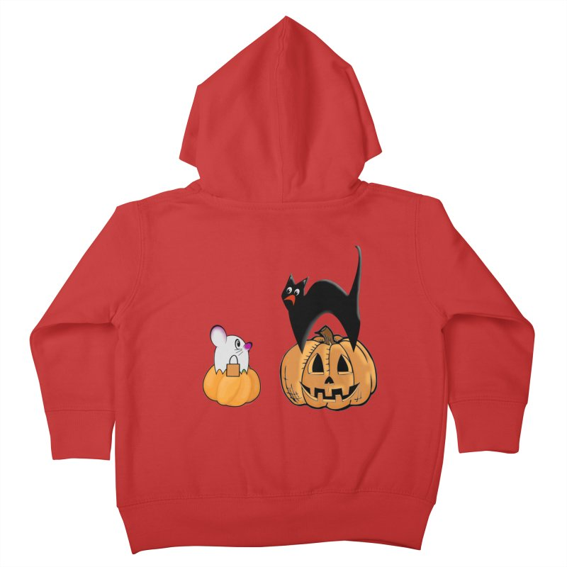 Scared Halloween cat and mouse on pumpkins Kids Toddler Zip-Up Hoody by Make a statement, laugh, enjoy.