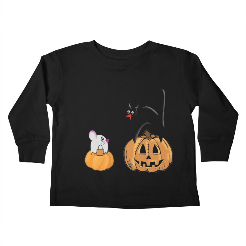 Scared Halloween cat and mouse on pumpkins Kids Toddler Longsleeve T-Shirt by Sporkshirts's tshirt gamer movie and design shop.