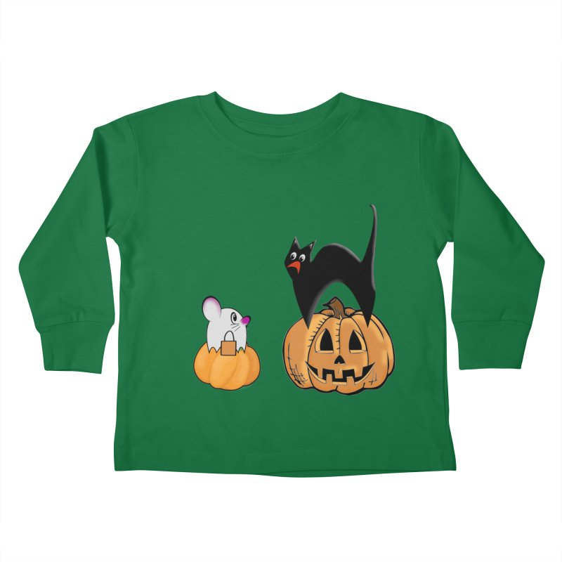 Scared Halloween cat and mouse on pumpkins Kids Toddler Longsleeve T-Shirt by Make a statement, laugh, enjoy.