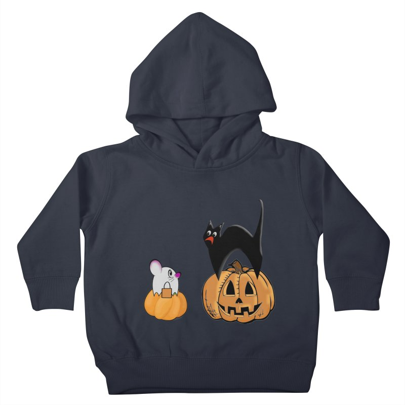 Scared Halloween cat and mouse on pumpkins Kids Toddler Pullover Hoody by Make a statement, laugh, enjoy.