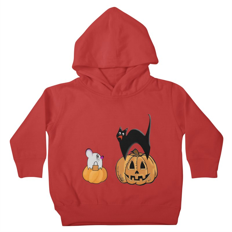 Scared Halloween cat and mouse on pumpkins Kids Toddler Pullover Hoody by Sporkshirts's tshirt gamer movie and design shop.