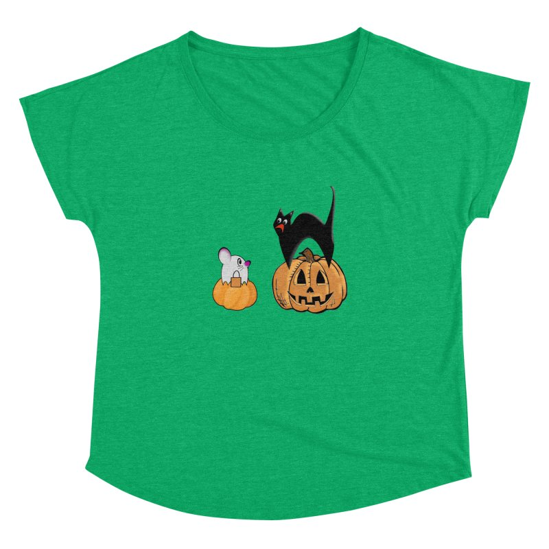Scared Halloween cat and mouse on pumpkins Women's Dolman Scoop Neck by Sporkshirts's tshirt gamer movie and design shop.