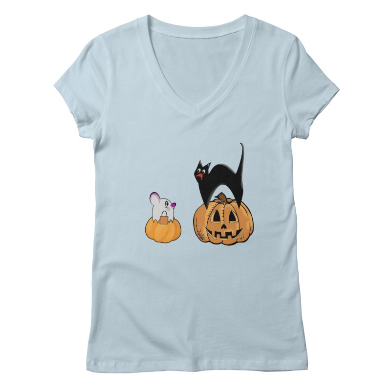 Scared Halloween cat and mouse on pumpkins Women's Regular V-Neck by Make a statement, laugh, enjoy.