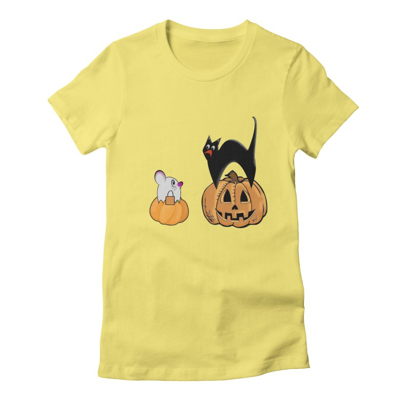 Scared Halloween cat and mouse on pumpkins Women's Fitted T-Shirt by Sporkshirts's tshirt gamer movie and design shop.