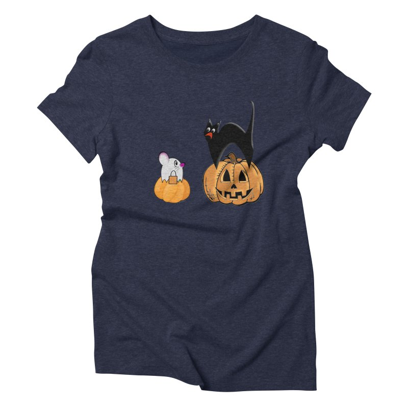 Scared Halloween cat and mouse on pumpkins Women's Triblend T-Shirt by Sporkshirts's tshirt gamer movie and design shop.