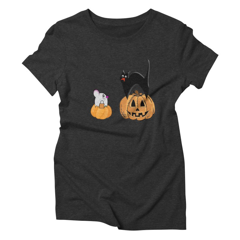 Scared Halloween cat and mouse on pumpkins Women's Triblend T-Shirt by Make a statement, laugh, enjoy.